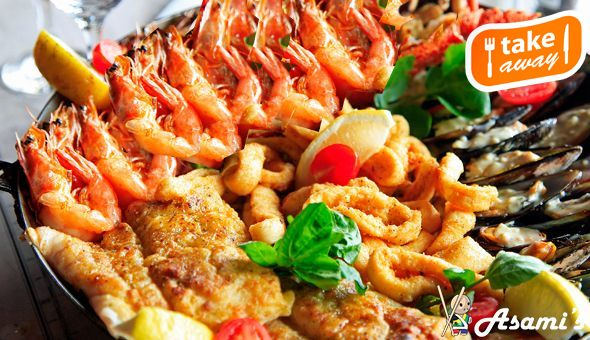 Takeaway Seafood Feast for 4 People at Asami's Somerset West, Stellenbosch or Durbanville! Includes: 1KG Prawns, Hake, Mussels, Calamari Tubes, Calamari Strips, Chips & Rice!