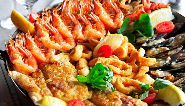 1KG Prawns, Hake, Mussels, Calamari Tubes, Calamari Strips, Chips & Rice! The Family Seafood Feast for 4 People at Asami's Stellenbosch!