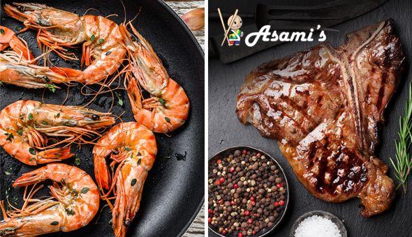 Combos and Desserts for 2 People at Asami's Somerset West, Stellenbosch or Durbanville! Combos: 400g Ribs & 6 Prawns OR 200g Hake, 6 Prawns & Calamari Strips OR 350g T-bone Steak & 6 Prawns!