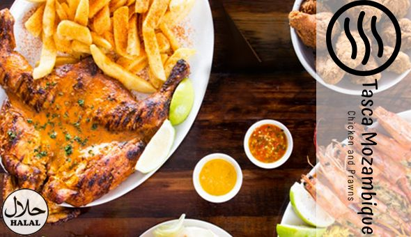 Halaal: Full Chicken, Large Chips & 4 Portuguese Rolls at only R129 - now valid for sit down or takeaway!