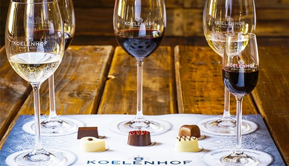 An Exclusive Belgian Chocolate & Wine Pairing Experience OR a Sorbet & Wine Pairing Experience with a Cellar Tour for 2 People at Koelenhof Winery, Stellenbosch!