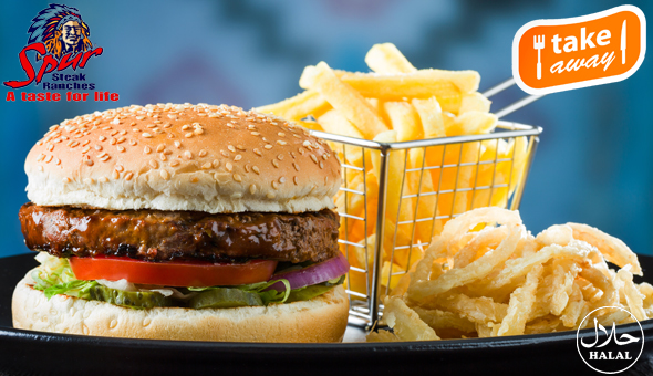 2 x Original Spur Burgers, served with Chips and Spur-style Crispy Onion Rings at Rodeo Spur!