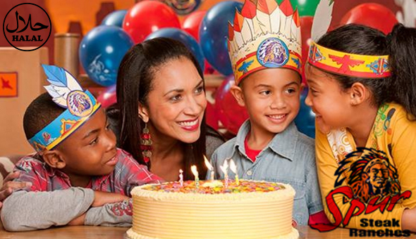 Spur Kids Party for 10 Kids at Rodeo Spur (Halaal)! Includes: Kids Meals, Fruit Juices, or Sodas, Soft Serve Bowls, Spur Birthday Party Surprise Packs, Masks, Activity Sheets & Play Time in the Play Canyon!